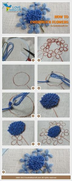 Embroidering large flowers with French knot centers