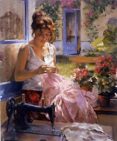 Such rich colors and use of light. Painter Vicente Romero Redondo was born in 1956 in Madrid as the eldest of four sons. Woman Painting, Figure Painting, Painting & Drawing, Spanish Painters, Spanish Artists, Rose Shabby Chic, Double Exposition, Illustration Art, Illustrations