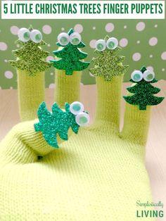 5 Little Christmas Trees Finger Play Gloves & Poem