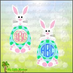 Bunny and Egg Monogram Base Easter Design Digital Clipart & Cut File Instant Download Jpeg Png SVG EPS DXF Formats - pinned by pin4etsy.com