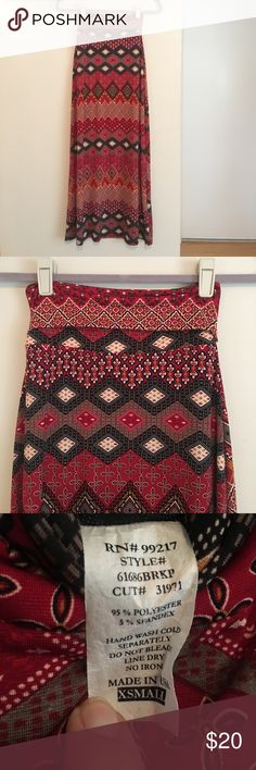 Moa Moa • NWOT Long maxi skirt Never worn, folds over to fit your height. 95% polyester, 5% spandex Moa Moa Skirts Maxi