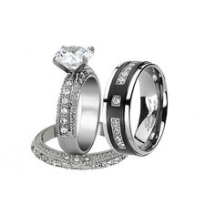 His Hers 3Pcs Wedding Ring Set in Black and Stainless Steel  Shop for this set at: https://www.devuggo.com/his-hers-wedding-ring-sets/8-women-s-aaa-cubic-zirconia-princess-cut-stainless-steel-engagement-wedding-ring-set.html