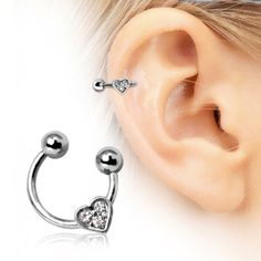 316L Surgical Steel Horseshoe Cartilage Earring with Gemmed Heart
