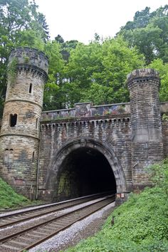 Rail road tunnel, which looks like a castle.