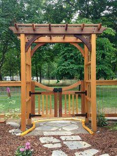 Wooden Garden Arbor With Gate Garden Arbor With Gate, Arbor Gate, Garden Archway, Garden Gates And Fencing, Wood Arbor, Garden Entrance, Fences, Trellis Gate, Metal Arbor