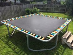 Such a smart way to cover springs on a trampoline! Cut up pool noodles!