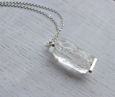 Raw Clear Quartz Necklace Silver Crystal Quartz Pendant Rough Gemstone Jewelry April Birthstone Raw Crystal  Mother's Day Gift for Her Ice