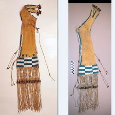 Two views of a Cheyenne pipe bag. both from the Harvard Peabody.
