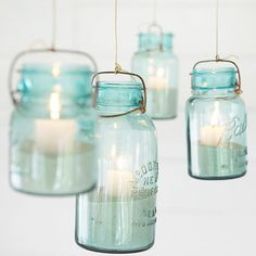 Lighten the mood at any party with these beach-vibe mason jar candles! Bonus: You can hang them to save counter space: http://www.bhg.com/party/mason-jar-party-ideas/?socsrc=bhgpin111414makehanginglights&page=4