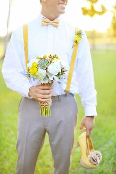 i like this for the groomsmen, w/ creame color slacks and blue suspenders and bow-ties.
