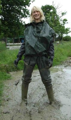 Blonde in muddy waders and rain suit Hunter Wellies, Hunter Boots, Mudding Girls, Ladies Wellies, Vinyl Clothing, Rubber Raincoats, Rain Gear, Fishing Outfits, Girls Wear