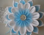 Headband, kanzashi flower, elastic band, the multilayered flower, white and  blue, made of satin and organza ribbon, gift for girls