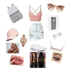 Just another blush away by brinewton on Polyvore featuring polyvore, fashion, style, LE3NO, Versus, Converse, Olivia Burton, AK Anne Klein, me you, adidas, Victoria Beckham and clothing