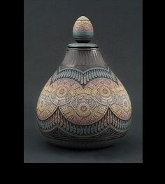 """Marvin Blackmore.  Marvin's first efforts reflected the influence of pueblo-style carved pottery with gloss and matte black finishes, famously known in the Southwest as """"Black-on-Black"""" pottery. Marvin developed a unique etched, two-tone technique that rocked the Native American pottery market. With a keen eye for design, he added a layer of a colored clay slip and then carved detailed patterns through the slip to the pot's base color.  http://marvinblackmorepottery.com/"""