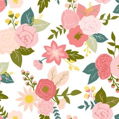 Pretty in pink floral fabric by >>mintpeony<< on Spoonflower - custom fabric