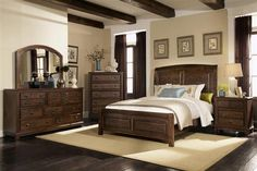 Dark Brown Wood Bedroom Furniture With Dark Smokey Blue