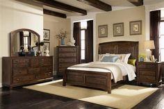 Laughton Rustic Cocoa Brown Wood Master Bedroom Set