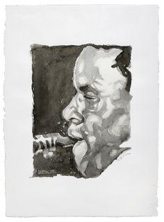 John Coltrane - Inchiostro su carta Fabbriano realizzata a mano 48x64 cm