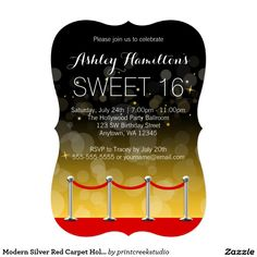 Modern Silver Red Carpet Hollywood Sweet 16 5x7 Paper Invitation Card