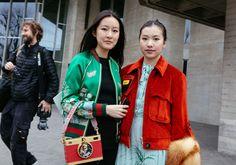Gucci jacket and Dolce & Gabbana bag (left), Miu Miu jacket (right)  #London  #StreetStyle  #Koshchenets