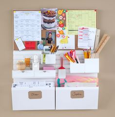 for wall at kitchen stairs --- Keep school forms, permission slips, and other important paperwork from piling up on counters—instead, store them in Wall Manager inbox caddies. #marthastewarthomeoffce #backtoschool