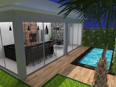 Wish of the day: Our gourmet area and pool ready for hot days like this . Small Backyard Pools, Backyard Pool Designs, Swimming Pools Backyard, Roof Design, Patio Design, Model House Plan, Outdoor Restaurant, House Plants Decor, Home Landscaping