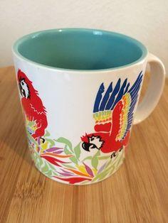 "Russ Berrie White Turqoise Ceramic Red Parrots Coffee Tea Mug Cup 12 oz 3 5"" T | eBay"