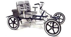 We've done unusual bikes before. Four wheels! Just like a car but without the motor, (they do offer electric motors, if you wish) and said to handle the same. Check out those seats, huh. Comfy or what? 4 Wheel Bicycle, Bicycle Cart, Cross Country Bike, Homemade Go Kart, Biking With Dog, Best Electric Bikes, Hot Dog Stand, Pedal Cars, Bicycle Design
