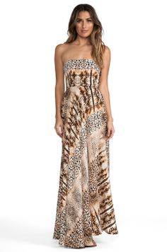 Twelfth Street By Cynthia Vincent Strapless Maxi in Leopard