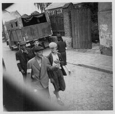 Jewish workers reporting for forced labour, Lviv