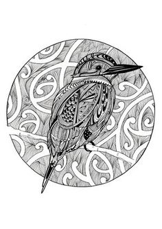 A zentangle of patterns and shapes to create this cute little Sacred Kingfisher. I do most of my art with a lot of colour so I thought it would be nice to add in some black and white pieces too. Nz Art, Kiwiana, Kingfisher, Watercolor Paper, Fine Art Paper, Zentangle, Giclee Print, Ink, Black And White