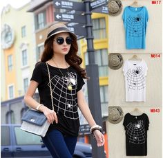2014 new spring &summer woman casual t-shirt fashion loose short sleeved T-shirt brand personalized spider Cotton Tees free size $9.90