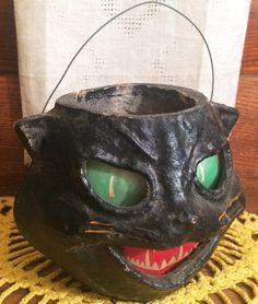 All-Original Vintage Halloween Paper Mache Pulp Cat Jack o' Lantern ca. 1940s…
