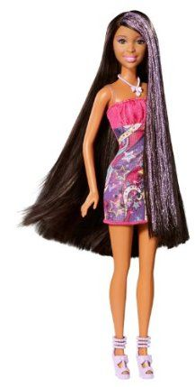 Barbie Hair-Tastic Long Hair African-American Doll by Mattel. $14.99. This Barbie Hair-Tastic doll has ultra-long hair with shimmer-shine highlights. Her thick, luxurious hair reaches below her waist and has super-glitter purple streaks. Makes to perfect gift any girl will love. Includes doll and stylish brush. Features stylish brush and fashionable outfits. From the Manufacturer Barbie Hair-Tastic Long Hair African-American Doll: The Barbie Hair-tastic Long Ha...