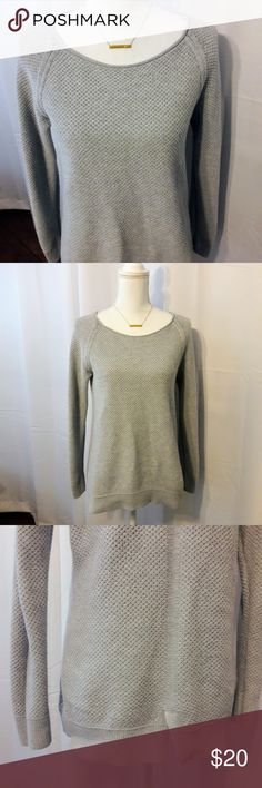 Gap Grey Maternity Sweater Size Medium Grey maternity sweater from Gap, size medium. Cute patterning up the back and a slit detail in the back near the waist for some added wiggle room for the belly! A light grey/blue color - so cute! Used item: inspected for quality and wear. Bundle up! Offers always welcome :) GAP Sweaters