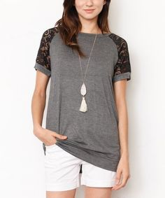 This Charcoal Lace-Sleeve Tunic - Women & Plus is perfect! #zulilyfinds