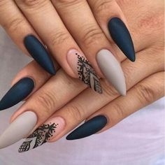 Grey and black nails, classy but sexy lace detail.