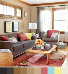 Sofá color chocolate con pinceladas de colores vivos • Vibrant colour touches for a brown sofa