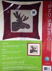 Moose Pillow Hanging Dimensions Fabric Applique Kit Craft Spanish French
