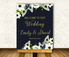 Wedding Welcome Sign Printable Floral Welcome Sign by tranquillina