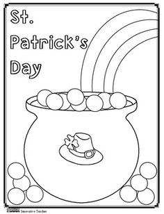 St. Patricks Day Coloring Page {FREE} By Innovative Teacher By Innovative Teacher #march #potofgold #endoftherainbow