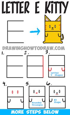 Learn How to Draw a Cartoon Kitty Cat from Uppercase Letter E : Step by Step…