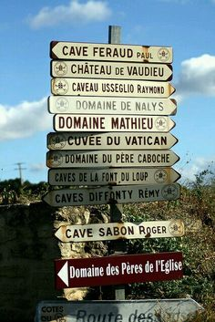 The domains of Chateau neuf du pape. So many choices. All good!