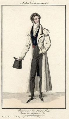 Men's wear with light-colored overcoat, 1820. box coat, top hat (source: http://zinneart.blogspot.com/2014/07/mens-regency-fashion-1820-1825.html)