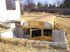 School bus root cellar... now I just need a bus. And a backhoe.