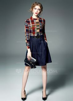 Above Knee Stand collar Blend 80%Polyester Stitching Print Long Sleeves Fashion Dresses