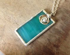 Silver metal jewelry turquoise glass aqua by SunDogArtAndGlass