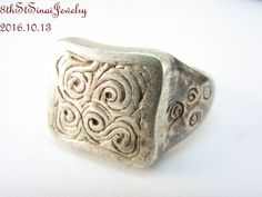 Estate Sterling Silver 925 Hand crafted Spirals  Rectangle Top Ring Size 5 #Unbranded #Statement