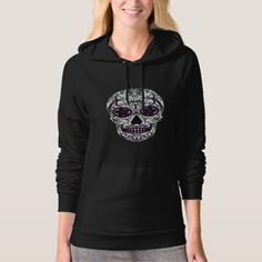 Day of the Dead Sugar Skull - Swirly Multi Color Hoodie