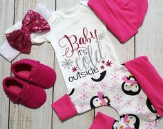 Christmas Coming Home Outfit, Baby Girl Going Home Outfit, Baby it's cold outside Onesie, Newborn Baby Girl Gift Set * 2 Purchasing Options*